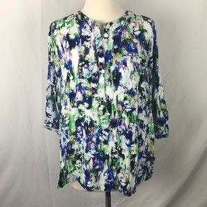 Colorful blouse with 3/4 sleeves 1X